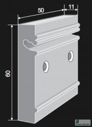 Sín profil utólag, a felületre szerelhető, 50mm, NEW 032 050 05