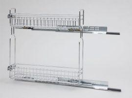 Fémrács 150mm-es elembe, oldalra szerelhető, front rögzítős, teljes kihúzású 2104