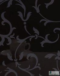 Fekete alapon ezüst virágmintás PET magasfényű